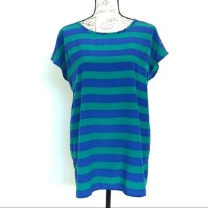 Gap Extended Sleeve Green & Blue Striped Tunic Top